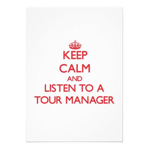 Mantenha a calma e escute um gerente da excursão convites