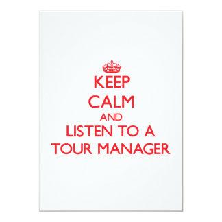 Mantenha a calma e escute um gerente da excursão convite 12.7 x 17.78cm