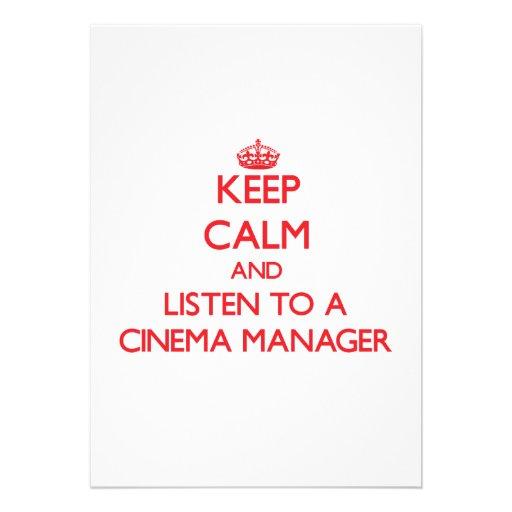 Mantenha a calma e escute um gerente do cinema convites personalizado