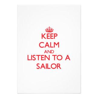 Mantenha a calma e escute um marinheiro convite personalizados