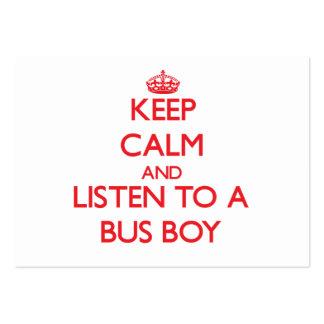 Mantenha a calma e escute um menino de ônibus modelos cartões de visitas