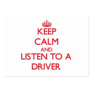 Mantenha a calma e escute um motorista modelos cartoes de visitas