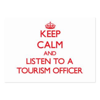 Mantenha a calma e escute um oficial do turismo cartões de visitas