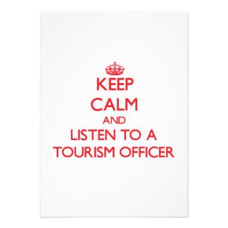 Mantenha a calma e escute um oficial do turismo convites personalizados