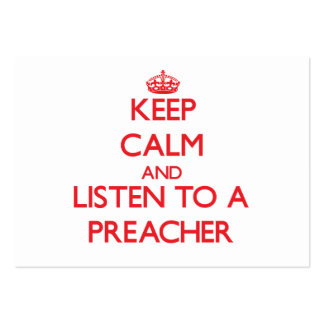 Mantenha a calma e escute um pregador cartão de visita grande