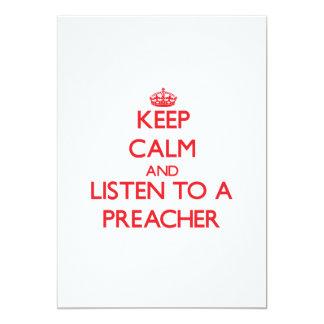 Mantenha a calma e escute um pregador convite 12.7 x 17.78cm