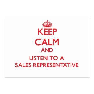 Mantenha a calma e escute um representante de vend modelo cartao de visita