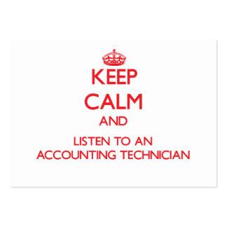 Mantenha a calma e escute um técnico da contabilid cartoes de visitas