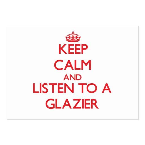 Mantenha a calma e escute um vidraceiro cartoes de visita