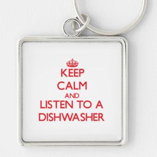 Mantenha a calma e escute uma máquina de lavar chaveiro