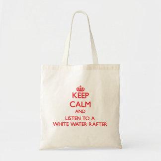 Mantenha a calma e escute uma viga da água branca sacola tote budget