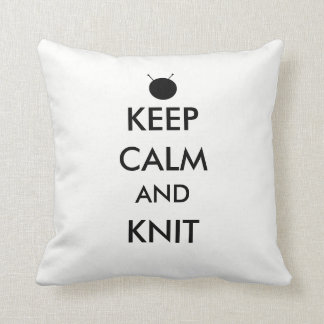 """Mantenha a calma e faça malha"" o travesseiro Almofada"