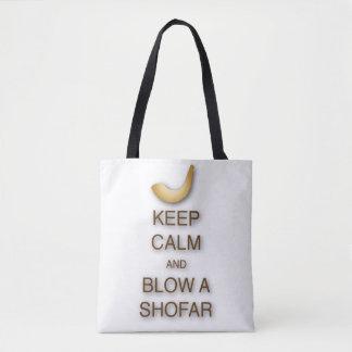 Mantenha a calma e funda um shofar por todo o lado bolsa tote