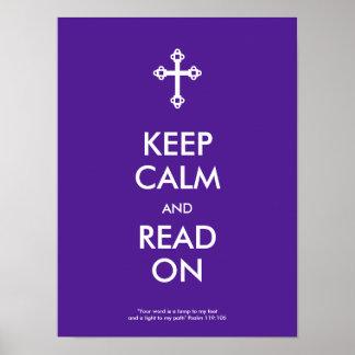 Mantenha a calma e leia-a no poster