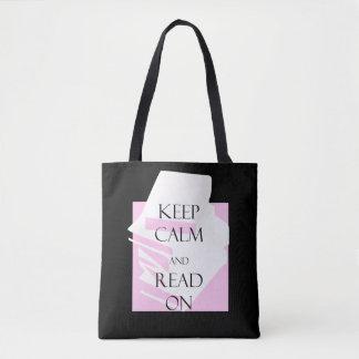 Mantenha a calma e leia-a sobre bolsa tote