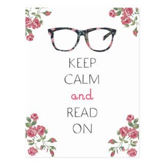 Mantenha a calma e leia-a sobre cartão postal