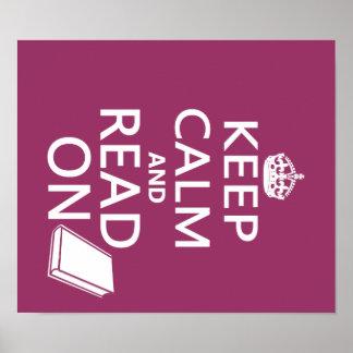 Mantenha a calma e leia-a sobre pôster