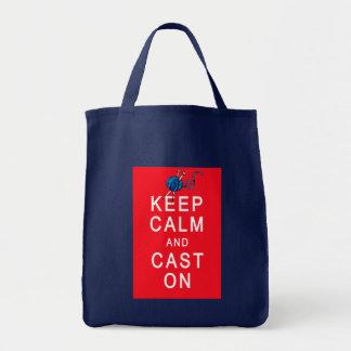Mantenha a calma e molde-a no Tshirt ou no present Bolsas De Lona