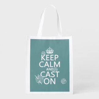 Mantenha a calma e molde sobre - todas as cores sacolas ecológicas para supermercado