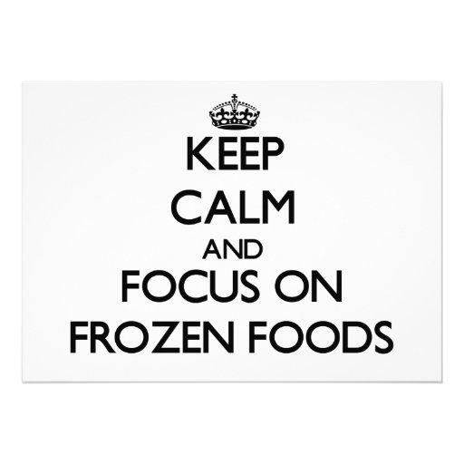 Mantenha a calma e o foco em alimentos congelados convite personalizado
