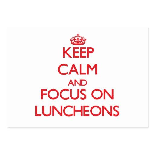Mantenha a calma e o foco em almoços modelos cartão de visita