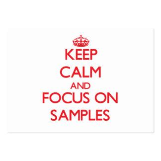 Mantenha a calma e o foco em amostras