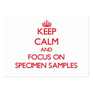 Mantenha a calma e o foco em amostras do espécime cartão de visita