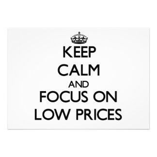 Mantenha a calma e o foco em baixos preços convites personalizado