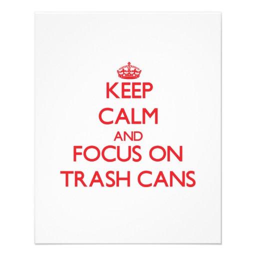 Mantenha a calma e o foco em baldes do lixo modelo de panfleto
