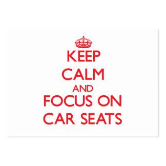 Mantenha a calma e o foco em bancos de carro cartão de visita grande