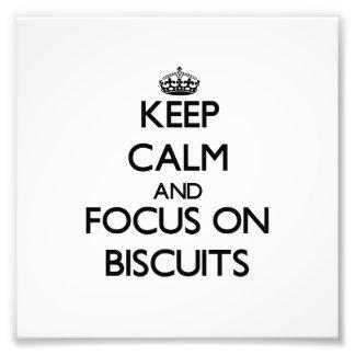 Mantenha a calma e o foco em biscoitos impressão fotográficas