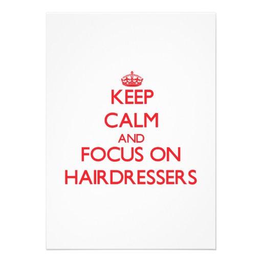 Mantenha a calma e o foco em cabeleireiro convite