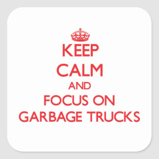 Mantenha a calma e o foco em caminhões de lixo adesivos
