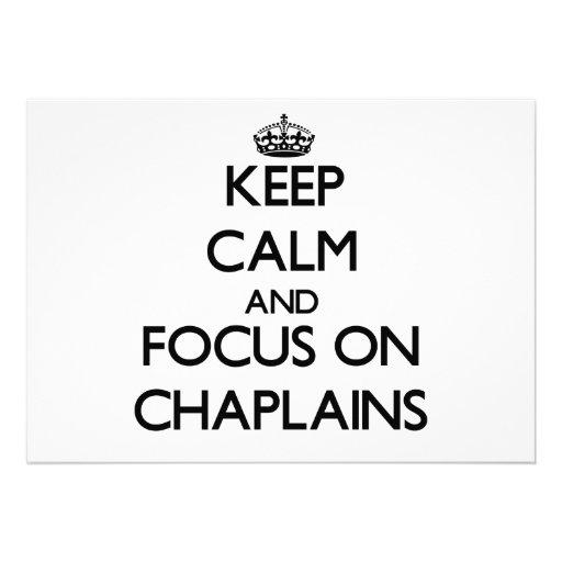 Mantenha a calma e o foco em capelães convite personalizados
