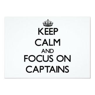 Mantenha a calma e o foco em capitães convites personalizado