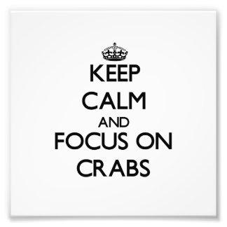 Mantenha a calma e o foco em caranguejos