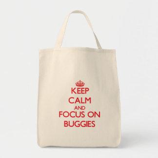 Mantenha a calma e o foco em carrinhos bolsas de lona