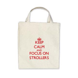 Mantenha a calma e o foco em carrinhos de criança bolsas de lona