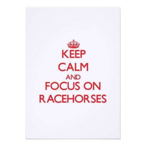 Mantenha a calma e o foco em cavalos de corrida convites personalizado