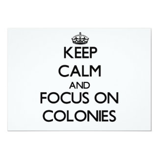 Mantenha a calma e o foco em colônias convite personalizado