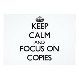 Mantenha a calma e o foco em cópias convites personalizados