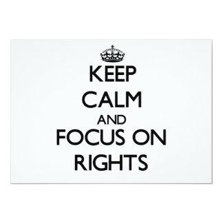 Mantenha a calma e o foco em direitos convite