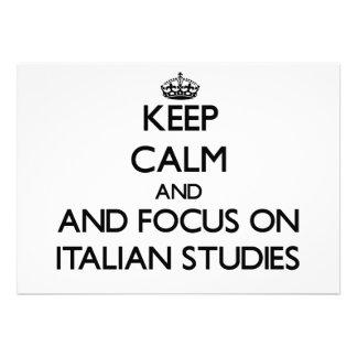 Mantenha a calma e o foco em estudos italianos convites personalizados