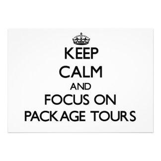 Mantenha a calma e o foco em excursões de pacote convite personalizado