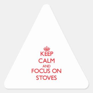 Mantenha a calma e o foco em fogões adesivo em forma de triângulo