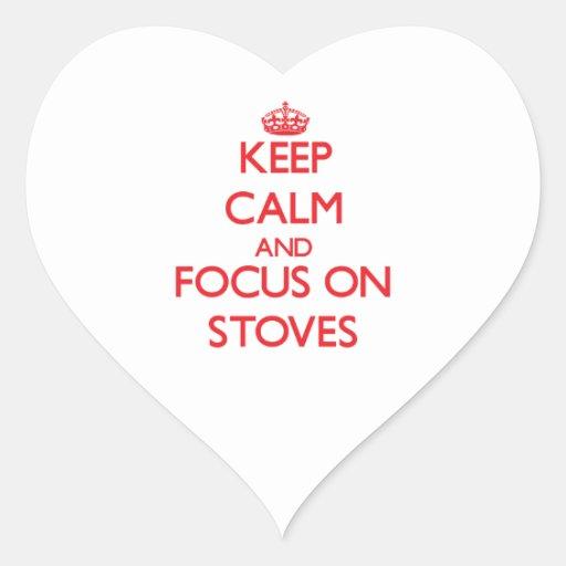 Mantenha a calma e o foco em fogões adesivos em forma de corações