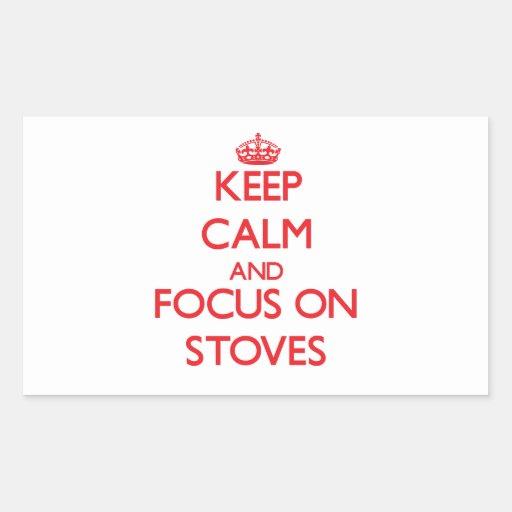 Mantenha a calma e o foco em fogões adesivos retangular