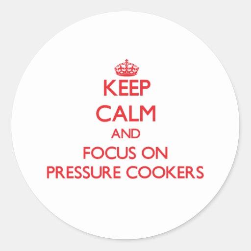 Mantenha a calma e o foco em fogões de pressão adesivo redondo