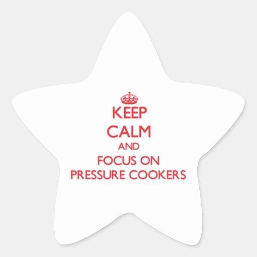 Mantenha a calma e o foco em fogões de pressão adesivo em forma de estrela