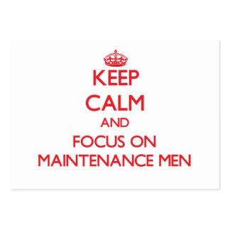 Mantenha a calma e o foco em homens de manutenção cartões de visitas